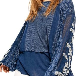NWT Free People Indigo Dreams Embroidered Tunic